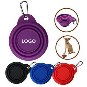 Silicone Pet Collapsible Dog Bowl w/Carabiner